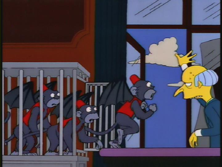 Montgomery Burns releases the flying monkeys to try to stop Marc Perkel...