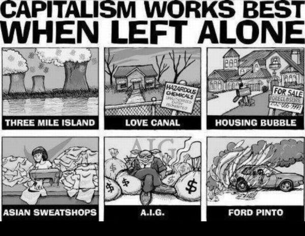 Capitalism works best when left alone.  Examples:  Three Mile Island, Love Canal, Housing Bubble, Asian Sweatshops, AIG, Ford Pinto