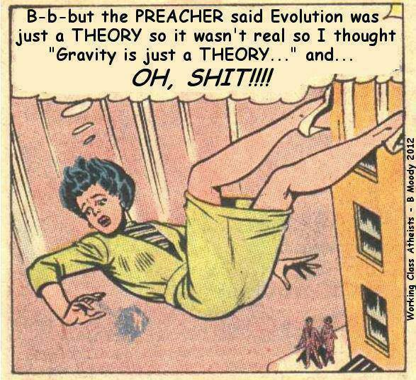 Woman falling:  B-but the preacher said that evolution was a THEORY so it wasn't real and I thought 'Gravity is just a theory'--oh shit!