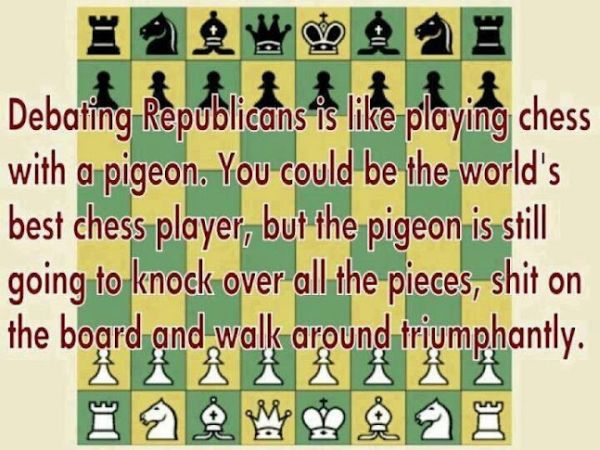 How are Republicans like pigeons?