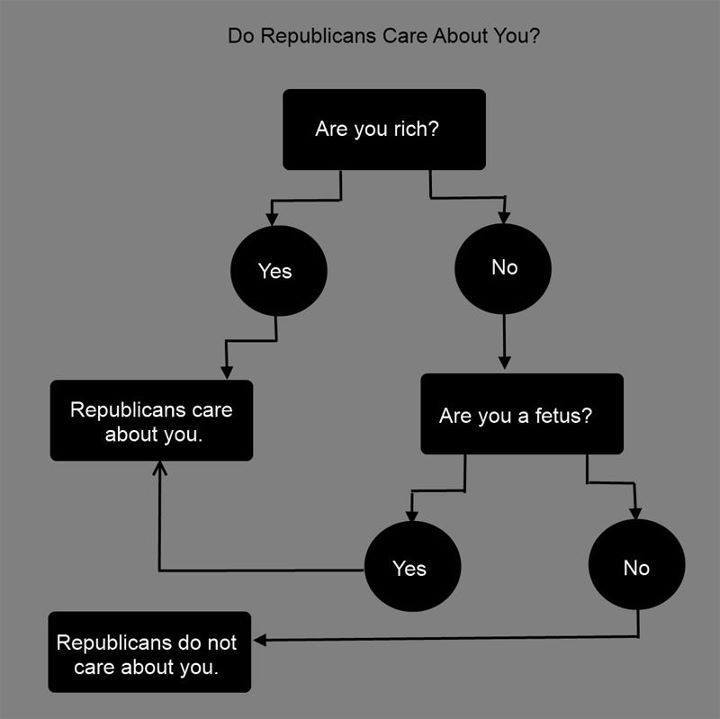Flowchart:  Republicans care about you only if you are rich or are a fetus.  Otherwise, otherwise.