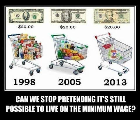 Shrinking grocery cart that $20 will buy, 1998 to 2013.