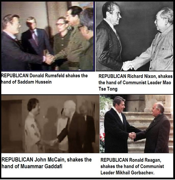 Pictures of recent Republican Presidents shaking hands with assorted Communist leaders, including Fidel Castro.