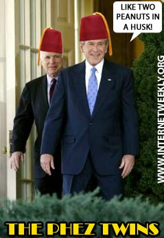 BartCop.com Volume 2127 - Stobbaple, Bush & McCain in Fez regalia, top toon