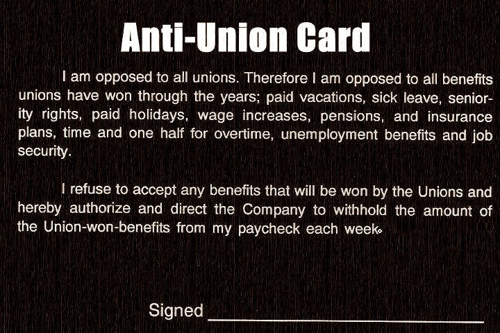 STILL AGAINST THE UNIONS