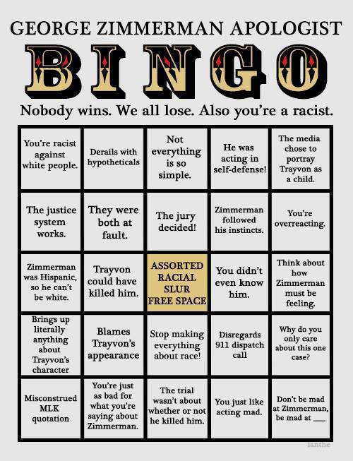 George Zimmerman Apologist BINGO:  Image:  Bingo card filled with excuses being made for George